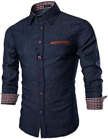 COOFANDY Men's Casual Dress Shirt Button Down Shirts Long-Sleeve Denim Work Shirt