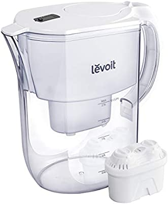 LEVOIT Water Filter Pitcher, 10 Cup Large Water Purifier(BPA-Free) with Electronic Filter Indicator, 5-Layer Filtration for Chlorine, Lead, Heavy Metals and Odor, 2-Year Warranty, White, LV110WP