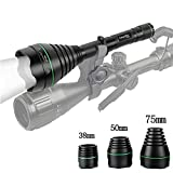UniqueFire 1508 Black IR 940NM T67(67mm) Infrared Light Night Vision Flashlight Adjustable Focus Zoomable Torch with 38MM, 50MM and 75MM Lens Head Changeable kit Set for Night Hunting (940