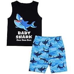 Baby Boy Clothes Baby Shark Doo Doo Doo Print Summer Cotton Sleeveless Outfits Set Tops + Short Pants 0-6 Months