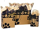 Gift Bags Assorted Sizes - Bundled with Coordinating Tissue Paper and Raffia Ribbon (Kraft Paws)