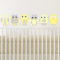 Sunny Decals Owl Fabric Wall Decals (Set of 6), Small/6″, Yellow/Grey/White