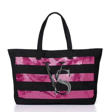Victorias Secret Tote Canvas Bag 2014 with Sequin Stripes Limited Edition