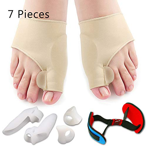 Bunion Corrector & Bunion Relief Protector Sleeves Kit - Treat Pain in Hallux Valgus, Big Toe Joint, Hammer Toe, Toe Separators Spacers Straighteners splint Aid surgery treatment