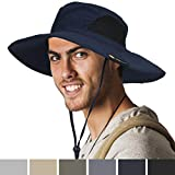 SUN CUBE Premium Boonie Hat | Wide Brim Adjustable Chin Strap | Outdoor Fishing, Hiking, Safari, Summer Bucket Hat | UPF 50+ Sun Protection | Packable Breathable Men, Women Mesh Hat (Navy)