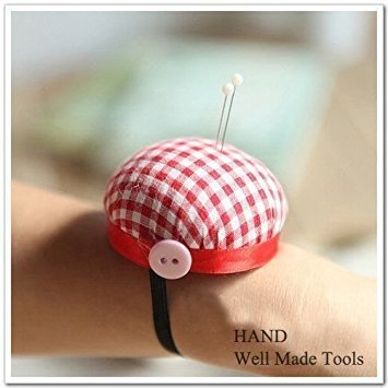 Red Check Wrist Pin Cushion, 60mmW, Tailor, Students 1 Piece