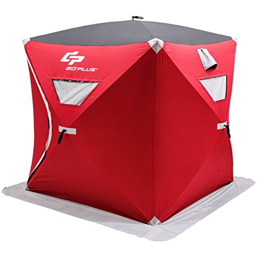 Goplus 2-Person Ice Shelter Portable Pop-up Ice Fishing Tent Shanty w/Bag and Ice Anchors Red (2 Person)
