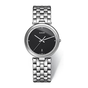 Rado Women's Florence Steel Bracelet & Case Sapphire Crystal Quartz Black Dial Analog Watch R48870153