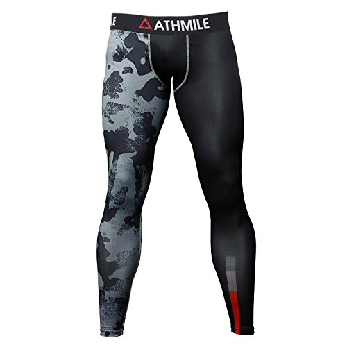 Athmile Men's Sports Compression Cool Dry Pants Workout Tights Running Base layer Leggings&Shirts for Hiking,Marathon,Basketball,Exercise and Fitness