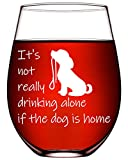 Dog Lover Gifts For Him Her Funny Wine Glasses Dog Gifts For Women Birthday Dog Mom Gifts Dog Dad Vet Tech Dog 17oz Stemless Wine Glasses-It's Not Really Drinking Alone If The Dog Is Home