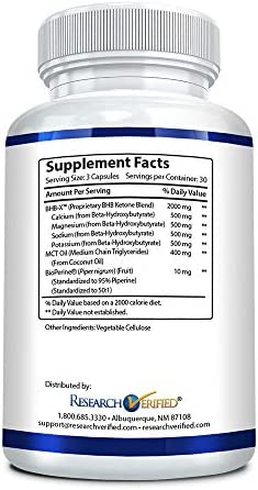 Research Verified Keto - Vegan Keto Supplement with 4 Exogenous Ketone Salts (Calcium, Sodium, Magnesium and Potassium) and MCT Oil to Boost Energy, Weight Loss and Focus in Ketosis - 1 Bottle 7