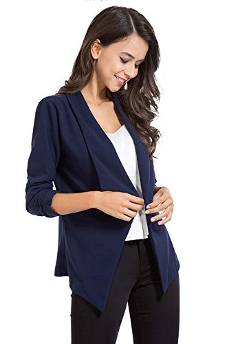 AUQCO Casual Open Front Blazer for Women Work Office Business Jacket Ruched 3/4 Sleeve Lightweight Draped Cardigan 16 Fashion Online Shop gifts for her gifts for him womens full figure