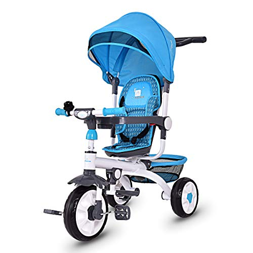 Costzon 4 in 1 Kids Tricycle Steer Stroller Toy Bike w/Canopy, Safety Seat, Storage Basket, Foot Pedals, for Children Age 10 Months to 5 Years Old (Blue)