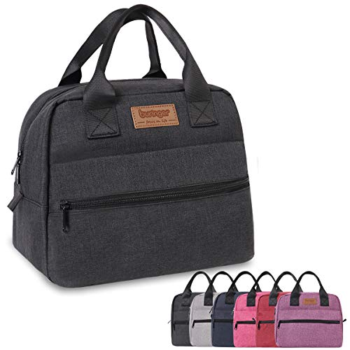 Buringer Insulated Lunch Bag Box Cooler Totes Handbag with Front and Back Pockets For Man and Woman Work Shopping (Black)