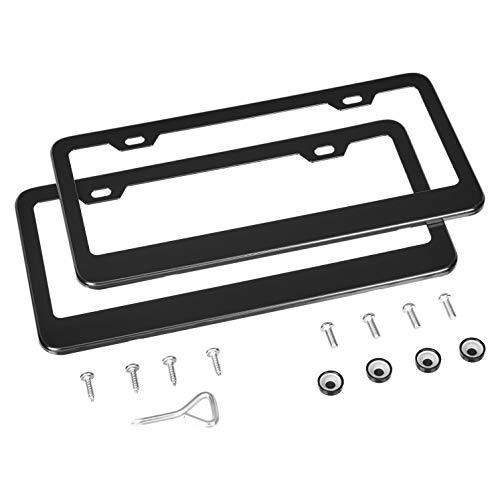 AmazonBasics Matte Aluminum License Plate Frame Pair with Screw Caps - 2-Hole, 12.3 x 6.3'', Black