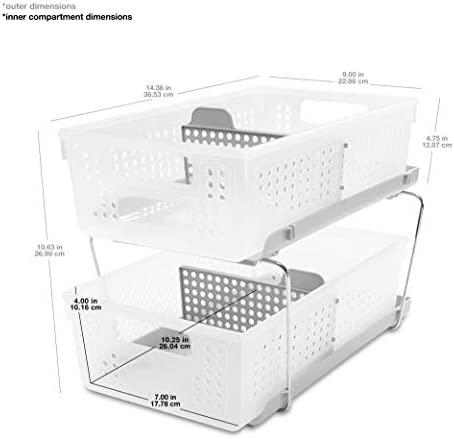 madesmart 2-Tier Organizer Bath Collection Slide-out Baskets with Handles, Space Saving, Multi-purpose Storage & BPA-Fre, Large, Frost-with Dividers