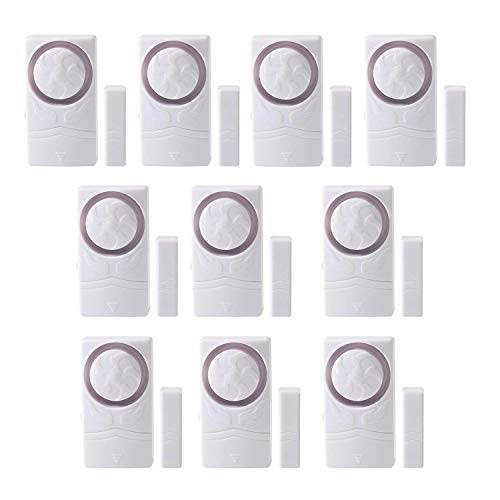 Wsdcam Door and Window Alarm for Home Wireless Alarm Security System Magnetic Alarm Sensor Time Delay Alarm Loud 110 dB, 4-in-1 Mode Window Alarms 10 Pack