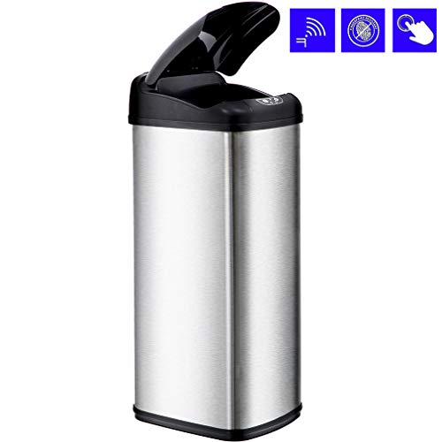BestOffice Kitchen Trash Can Garbage Stainless Steel for Home Office Bathroom with Lid Touch Free Automatic Waste Bin 13 Gallon / 50L, 1 Pack, SS