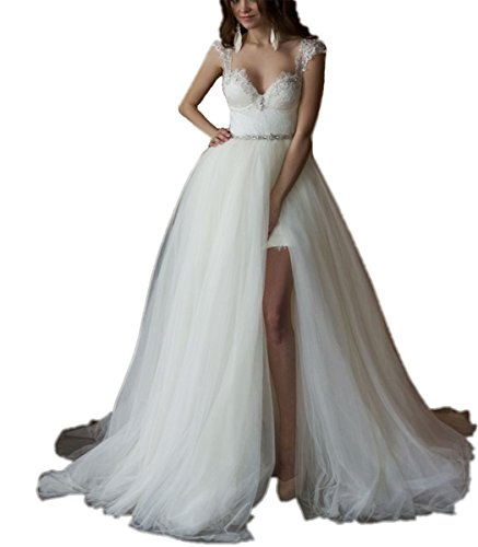 41UDJPrGCtL Style:Detachable train Wedding Dresses,Two Piece Wedding Dresses,Beach Wedding Dresses.Year:Wedding dress 2018,Neck:Sweetheart Wedding Dress,Back:Sexy Backless Wedding Dress,Fabric:Lace Wedding Dress.Length :Long Elegant Wedding Dress,Summer Beach Wedding Dress Built Bra,Full Lining we can make a dress specially for you according to your exact size,if you want custom made,please give us your exact size including bust,waist,hips,hollow to floor (with heels) after you order the dress.