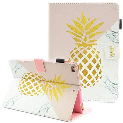 iPad Mini Case, iPad Mini 2 Case, iPad Mini 5 Case, iPad Mini 3 / 4 Case, Fvimi Multi-Angle Viewing Folio Smart Leather Cover with Auto Sleep/Wake for iPad Mini 1/2/3/4/5 7.9' Tablet, Gold Pineapple
