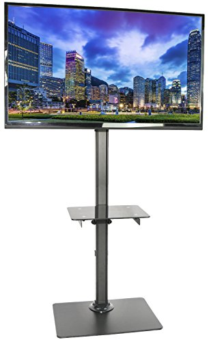 VIVO Black Steel and Glass Shelf TV Presentation Floor Stand for 13' to 55' LCD LED Plasma Flat Screen Stationary Mount (STAND-TV08)