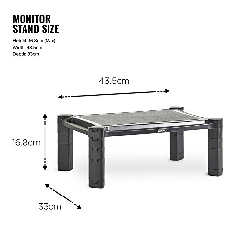 41UU1fMkAkL - VonHaus Height Adjustable Monitor Stand for Desks - Screen Riser for Computers, Laptops & TVs - With Cable Management & Pen Storage