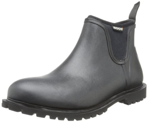 Bogs Men's Carson Low Waterproof Rain Boot, Black, 12 D(M) US