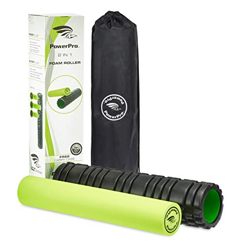 PowerPro 2-in-1 Foam Rollers: 24' Long: Trigger Point Foam Roller Massager Plus Smooth Muscle Roller. Ideal for Injury Rehab,Chronic Back Pain, Shin Splints, Lactic Acid & More 2 x Ebooks & Carry Case