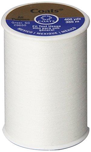 Coats & Clark All Purpose Thread 400 Yards White (ONE spool of yarn)