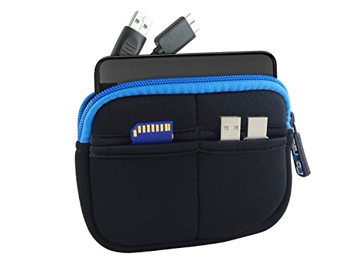 GoFree Slim Line HDD Pouch/Case for Seagate Backup Plus Slim, Lenovo External Hard Drive, WD My Passport Ultra, WD Elements (Black w/Azure Blue) 197