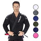 Elite Sports New Item IBJJF Ultra Light BJJ Brazilian Jiu Jitsu Gi w/Preshrunk Fabric & Free Belt (Black, A1)