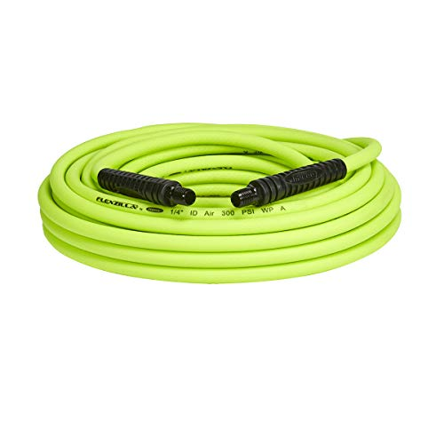 Flexzilla Air Hose, 1/4 in. x 50 ft, 1/4 in. MNPT Fittings, Heavy Duty, Lightweight, Hybrid, ZillaGreen - HFZ1450YW2