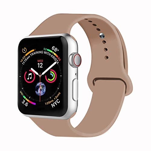 VATI Sport Band Compatible with Watch Band 38mm 42mm 40mm 44mm, Soft Silicone Strap Replacement Bands Compatible with Smart Watch Series 4/3/2/1 S/M M/L(Walnut,42mm M/L)