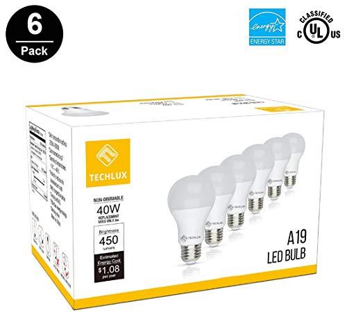 TECHLUX A19 6W LED Lights Bulbs(40 Watt Equivalent),2700K Soft White,Energy Efficient,LED Lighting Reading/Work Lamp for Indoor Dining Room Bedroom Household,E26 Base,Pack of 6