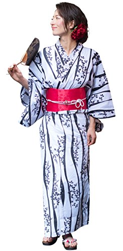 Kimura Jitsugyo Women's Kyoto Traditional Easy Wearing Kawaii Yukata Robe(Japanese Casual Kimono) Full Set 4 White & Bush Clover 17 Woman