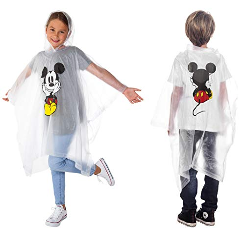 Disney 1-Pack Mickey Mouse Rain Poncho Hoodie Front Back Print (Mickey - Youth)