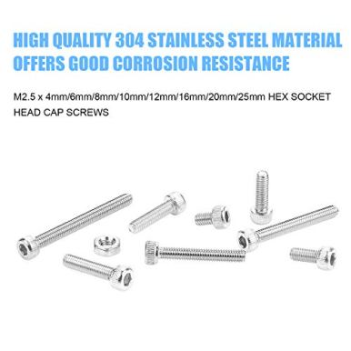 DYWISHKEY-360-Pieces-M25-x-4mm6mm8mm10mm12mm16mm20mm25mm-Stainless-Steel-304-Hex-Socket-Head-Cap-Bolts-Screws-Washers-Nuts-Kit-with-Hex-Wrench