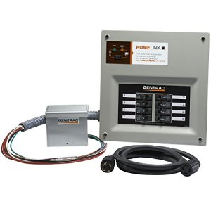 Generac 6854 Home Link Upgradeable 30 Amp Transfer Switch Kit with 10′ Cord and Aluminum Power Inlet Box