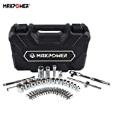 MAXPOWER 44-Piece Socket Wrench Set. 3/8-Inch Drive SAE Inch Sockets, Hex, Slotted, Philips, Pozidriv, Torx Bits Sockets, Ratchet Handle, Sliding T Bar, Universal Joint, Extension Bar, Spinner Handle