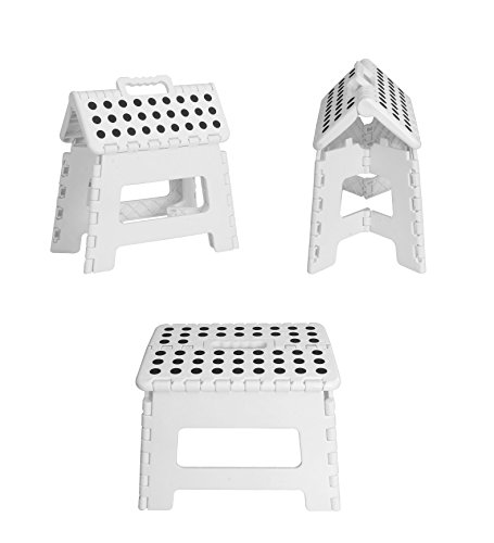 Utopia Home Foldable Step Stool for Kids - 11 Inches Wide and 9 Inches Tall - White and Black - Holds Up to 300 lbs - Lightweight Plastic Design