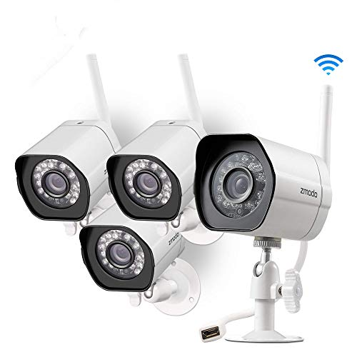 Zmodo Wireless Security Camera System (4 Pack) , Smart Home HD Indoor Outdoor WiFi IP Cameras with Night Vision, 1-month Free Cloud Recording (Renewed)