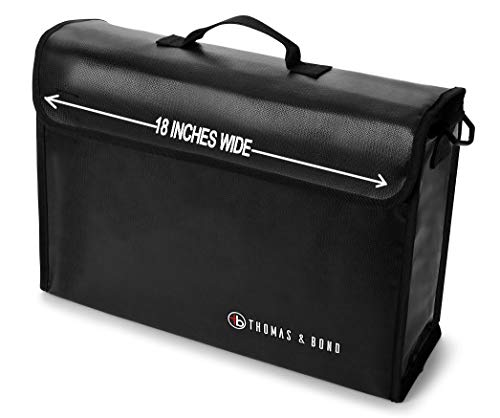 Thomas & Bond Extra Large Fireproof Bag 18x12x5 Holds Legal Size Files and Binders Without Bending. A Large Fireproof Document Bag With Non Itchy Water Resistant Heat Protection