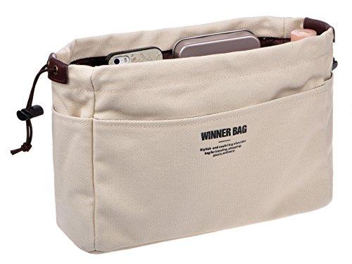 Vercord Canvas Handbag Organizers, Sturdy Purse Insert Organizer Bag in Bag, 13 Pockets 4 Colors 2 Sizes Beige S