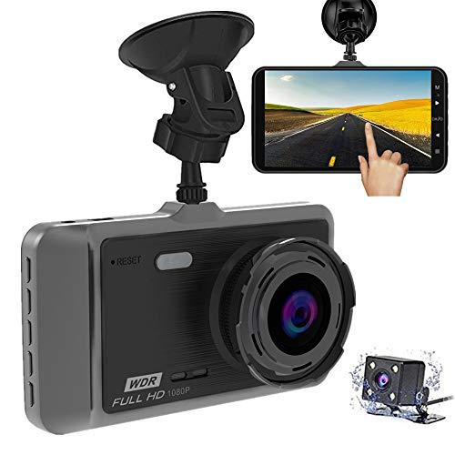 "Dash Cam, MILIEN 1080P Front and Rear Dual Dash Camera with Full HD 4"" LCD Screen, 170° Wide Angle Lens Dashboard Camera with G-Sensor, Loop Recording, Rear View and Motion Detection … (Black)"