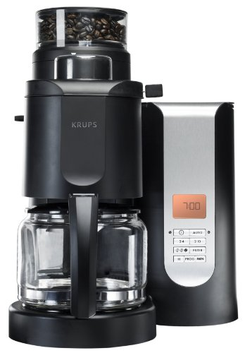 KRUPS KM7005 Grind and Brew Coffee Maker with Stainless Steel Conical Burr Grinder, 10-cup, Black