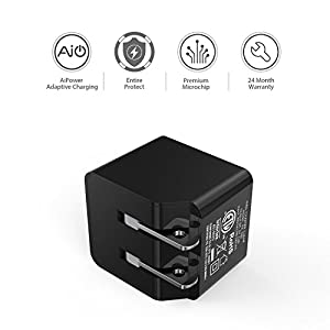 AUKEY USB Wall Charger, ULTRA COMPACT Dual Port 2.4A Output & Foldable Plug for iPhone iPad Samsung & Others - Black