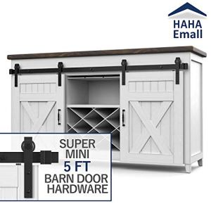 Hahaemall Heavy Duty Metal Steel Black Super Mini Sliding Barn Door Hardware Track Roller Kit Hanging TV Stand Cabinet…