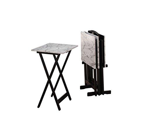 Linon 43001WHTSET-01-AS Tray Table Set 15.75' D x 18.9' W x 26.38' H White