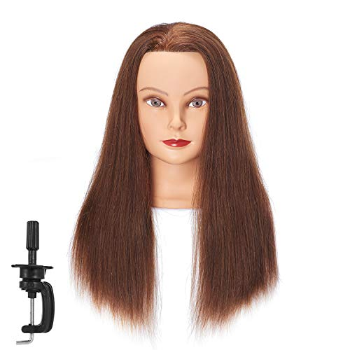Hairginkgo Mannequin Head 20'-22' Human Hair Manikin Head Hairdresser Training Head Cosmetology Doll Head for Styling Dye Cutting Braiding Practice with Clamp Stand (92018LB0414)