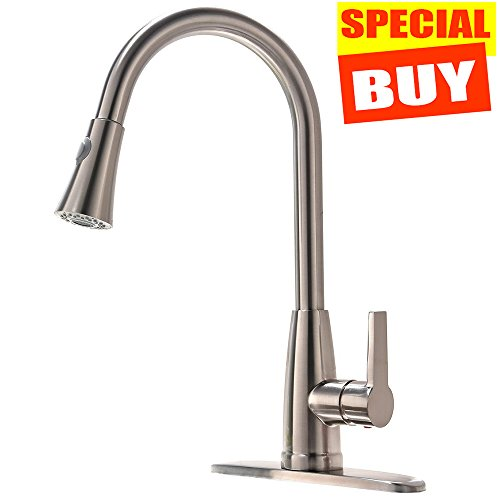 Modern Commercial Lead-Free Stainless Steel Single Lever Handle High Arc Pull Down Sprayer Kitchen Sink Faucet,Brushed Nickel Pull Out Kitchen Faucets With Deck Plate